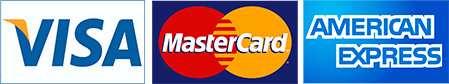 Credit Cards Accepted: MasterCard, Visa and American Express